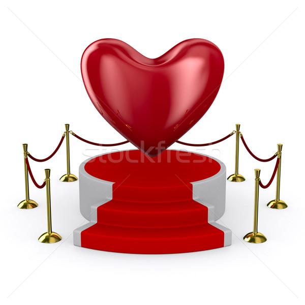 podium and heart on white background. Isolated 3D image Stock photo © ISerg