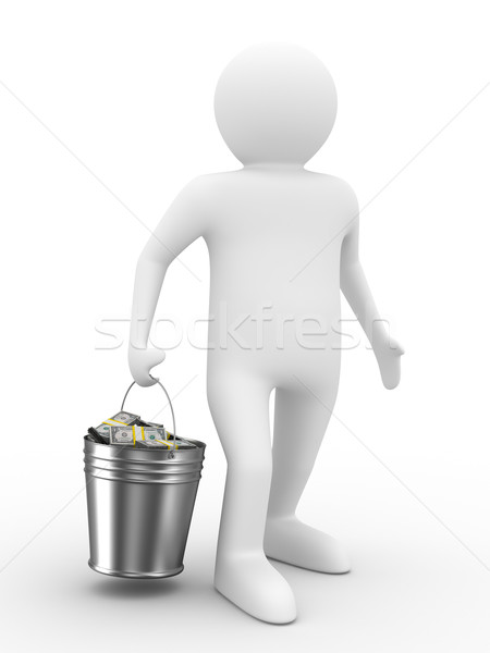 Stock photo: businessman with bucket of money. isolated 3D image