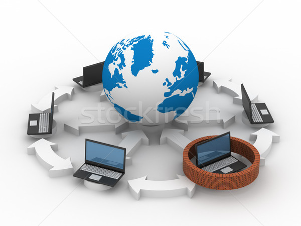 Protected global network the Internet. 3D image. Stock photo © ISerg