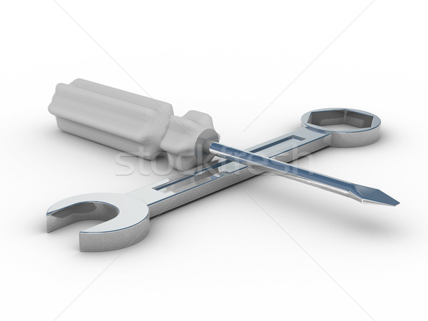 spanner and screwdriver on white background. Isolated 3D image Stock photo © ISerg