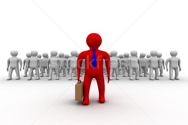 Zdjęcia stock: Obraz · zespołowej · 3D · grupy · konferencji · czerwony