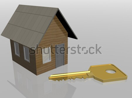 house and percent on scales. 3D image. Stock photo © ISerg