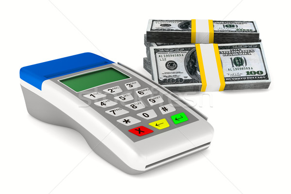 payment terminal and cash on white background. Isolated 3d image Stock photo © ISerg