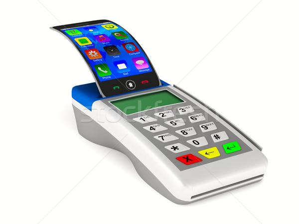 支払い 電話 白 孤立した 3D 画像 ストックフォト © ISerg