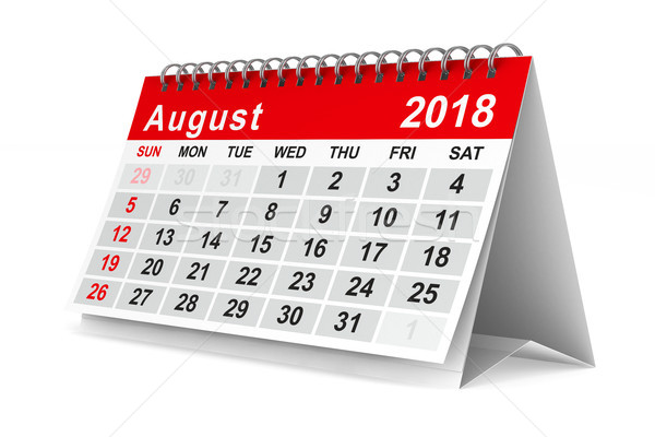 2018 year calendar. August. Isolated 3D illustration Stock photo © ISerg