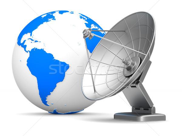 satellite aerial and globe on white background. Isolated 3D illu Stock photo © ISerg