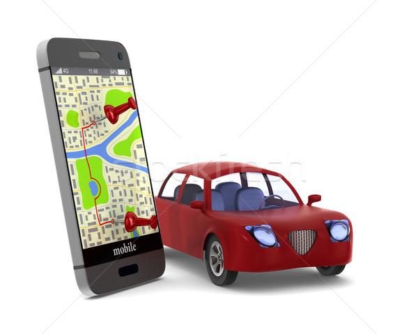 Navigatie telefoon geïsoleerd 3d illustration auto internet Stockfoto © ISerg