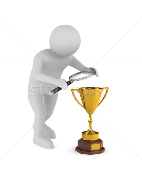 Hombre trofeo taza blanco aislado 3D Foto stock © ISerg