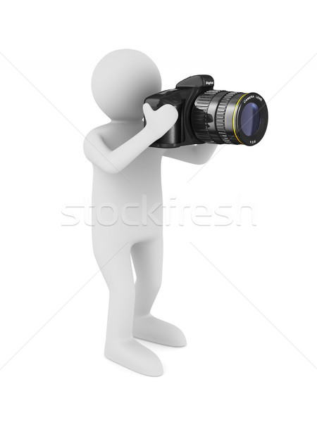 man with digital camera on white background. Isolated 3D illustr Stock photo © ISerg