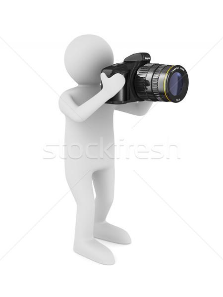 Man digitale camera witte geïsoleerd 3D 3d illustration Stockfoto © ISerg