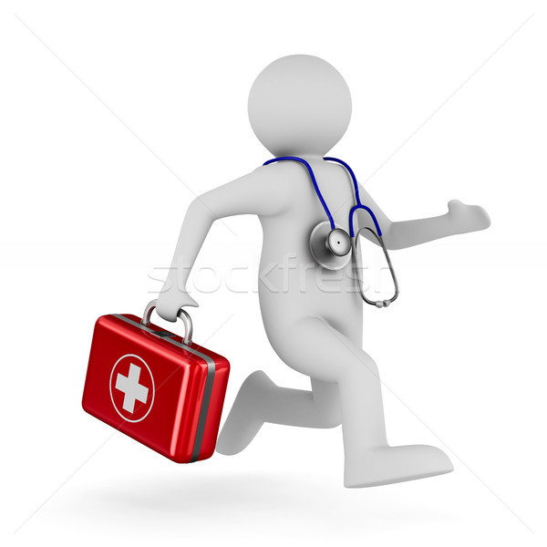 Doctor with first aid kit on white background. Isolated 3D illus Stock photo © ISerg