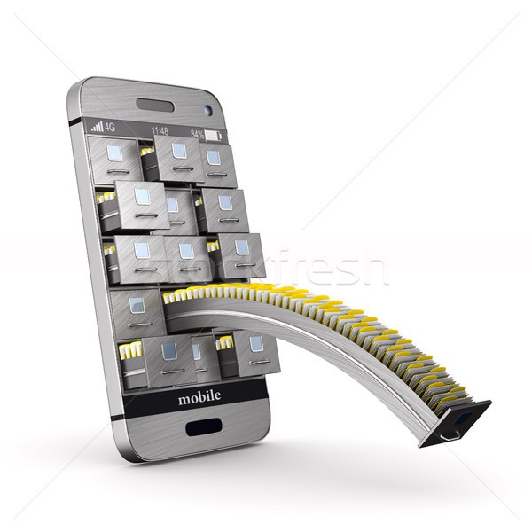 phone with filing cabinet on white background. Isolated 3D illus Stock photo © ISerg