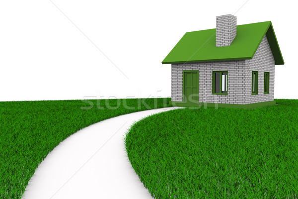 Road to house on grass. Isolated 3D image Stock photo © ISerg