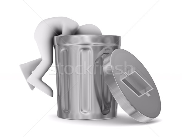 man searching in garbage container. Isolated 3D image Stock photo © ISerg