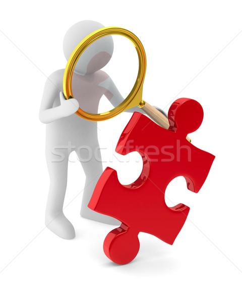 Сток-фото: человека · головоломки · белый · изолированный · 3D · изображение