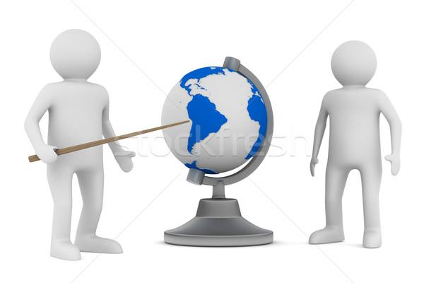 Homem globo branco isolado 3D imagem Foto stock © ISerg