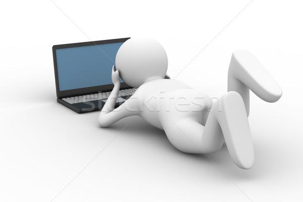 Adam bakmak bilgisayar beyaz yalıtılmış 3D Stok fotoğraf © ISerg