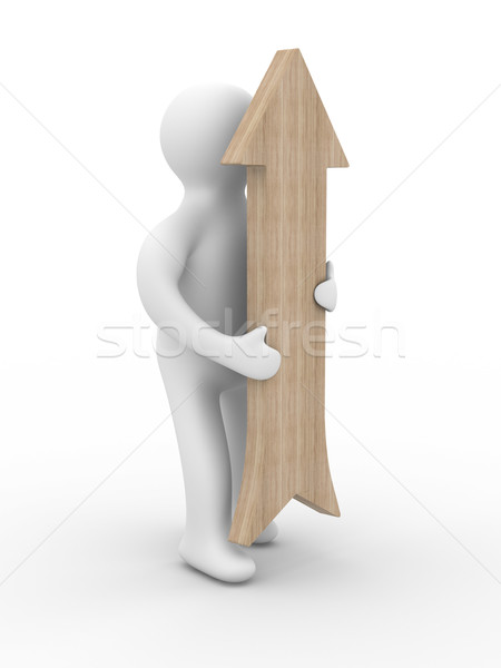 man holds the arrow in a hand. 3D image Stock photo © ISerg