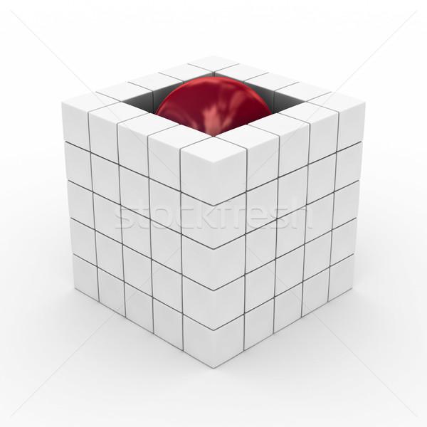 Foto stock: Cubo · esfera · blanco · 3D · imagen · negocios