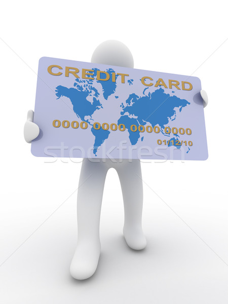 businessman with a credit card on a white background. 3D image Stock photo © ISerg