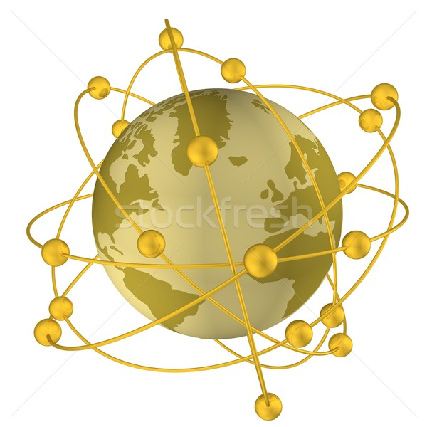 Globe with companions in an orbit. 3D image. Stock photo © ISerg