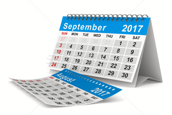 2017 year calendar. September. Isolated 3D image Stock photo © ISerg
