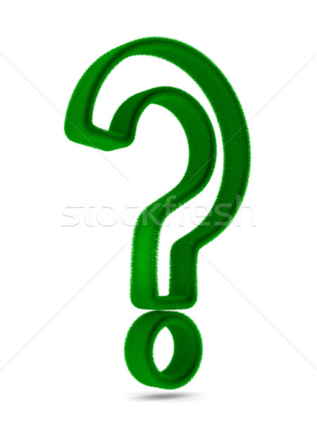 Stock photo: Sign question from grass on white background. Isolated 3D image