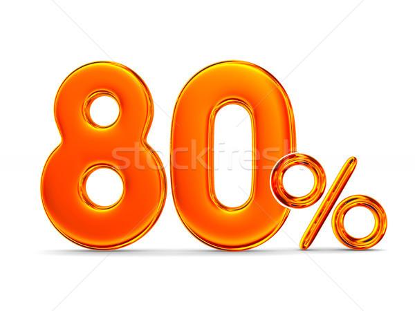 Oitenta por cento branco isolado ilustração 3d dinheiro Foto stock © ISerg