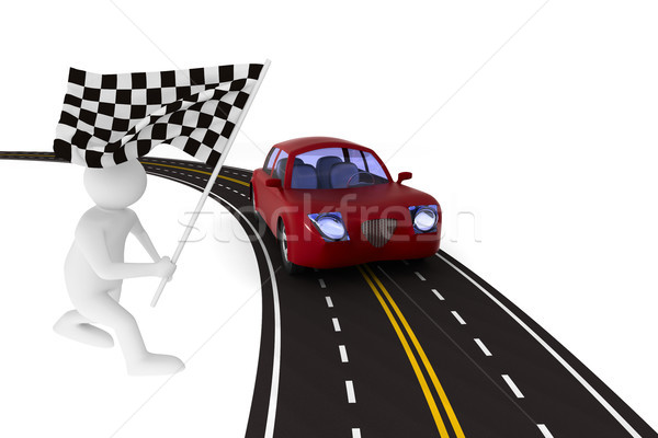 asphalted road on white background. Isolated 3D illustration Stock photo © ISerg