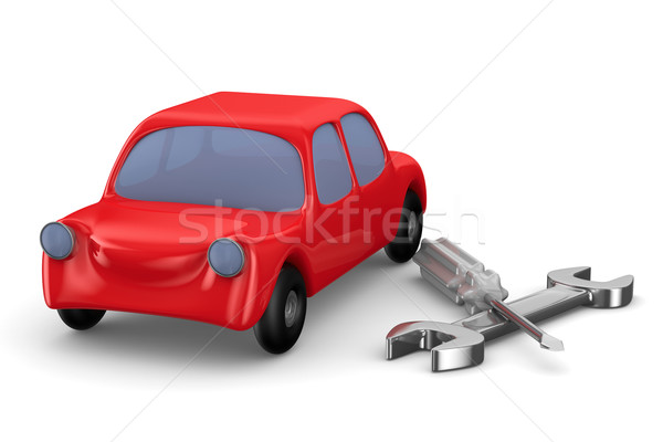 Car-care centre on white background. Isolated 3D image Stock photo © ISerg