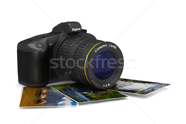 Stockfoto: Digitale · camera · witte · geïsoleerd · 3d · illustration · technologie · kunst