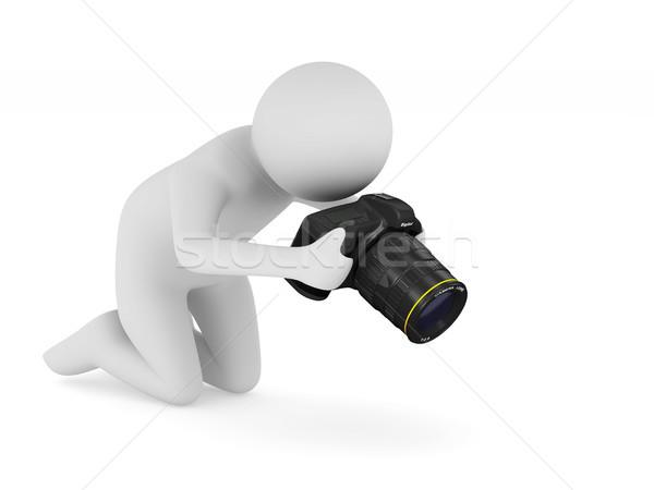 Uomo fotocamera digitale bianco isolato 3D illustrazione 3d Foto d'archivio © ISerg