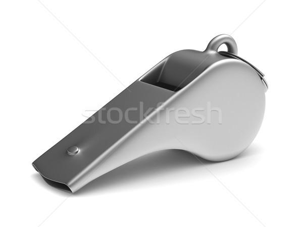 Metaal fluiten witte geïsoleerd 3d illustration veiligheid Stockfoto © ISerg