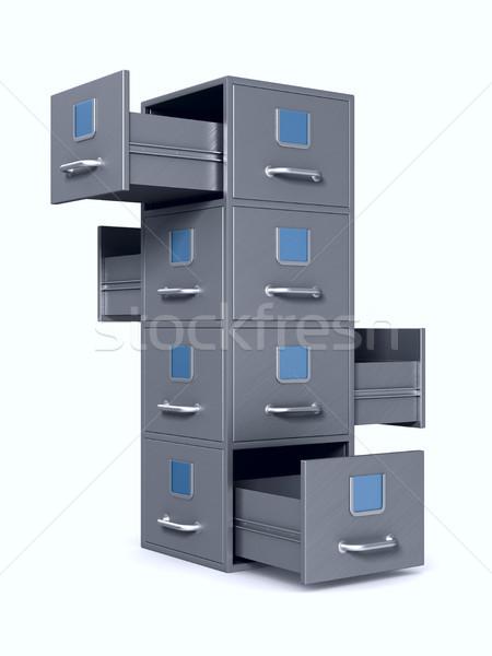 Faliszekrény fehér izolált 3d illusztráció papír könyv Stock fotó © ISerg