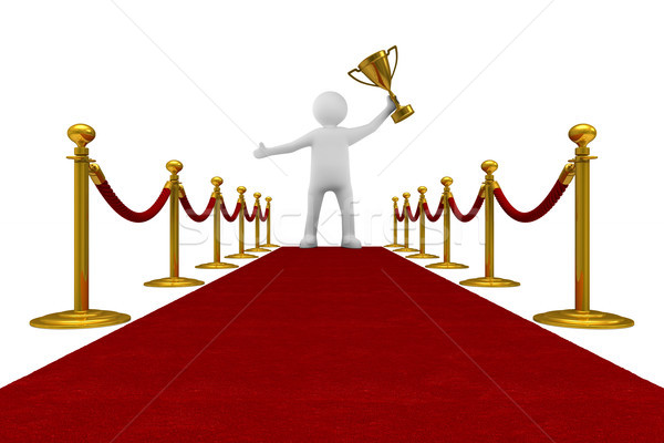 red carpet and barrier rope on white background. Isolated 3D ill Stock photo © ISerg