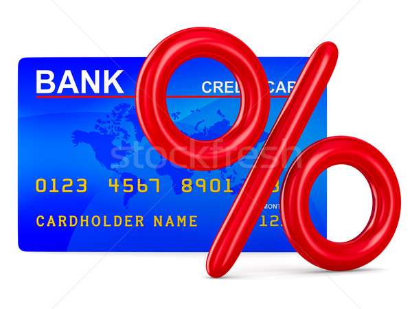 credit card and percent. Isolated 3D image Stock photo © ISerg
