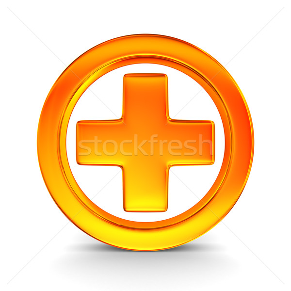 Symbol plus on white background. Isolated 3D image Stock photo © ISerg