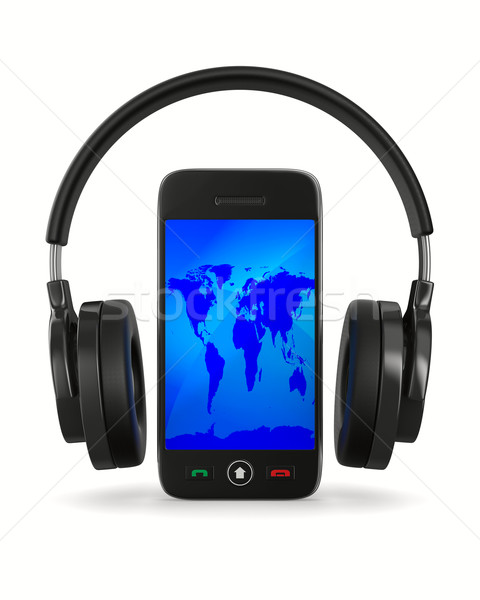 phone and headphone on white background. Isolated 3D image Stock photo © ISerg