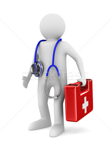 doctor with stethoscope on white background. Isolated 3D image Stock photo © ISerg