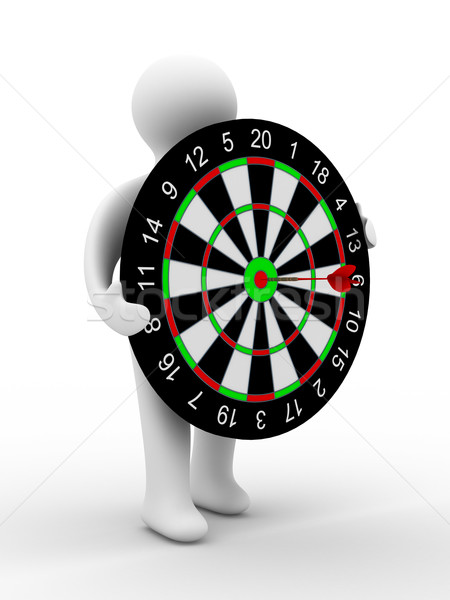 Man hold darts on white background. Isolated 3D image Stock photo © ISerg