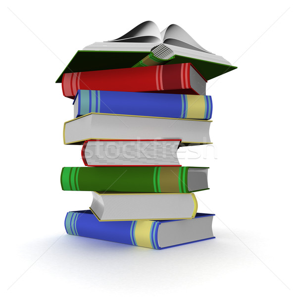 Stock photo: Pile of books. 3D the isolated image.