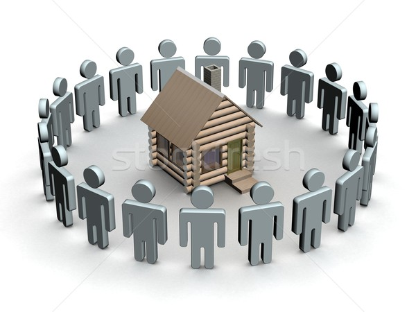 Group of people round a wooden small house. 3D image. Stock photo © ISerg
