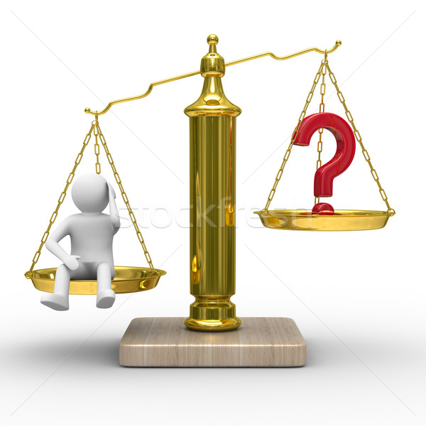 man and question on scales. Isolated 3D image Stock photo © ISerg