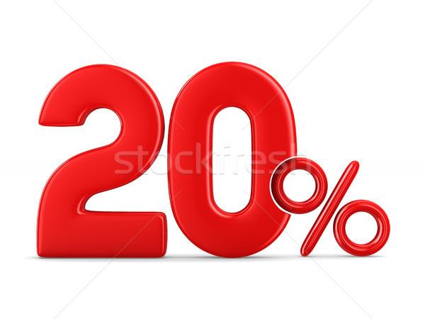 Twintig procent witte geïsoleerd 3d illustration Rood Stockfoto © ISerg