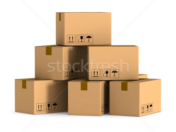 cargo box on white background. Isolated 3D illustration Stock photo © ISerg