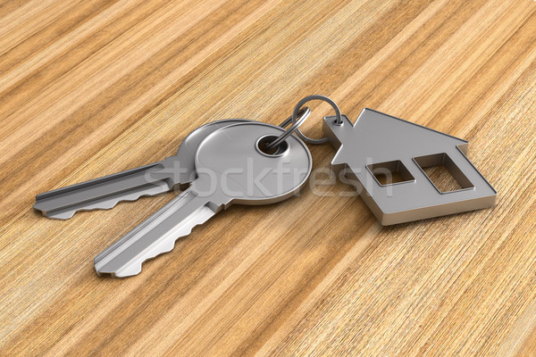 Two keys and trinket house on wooden surface. 3d illustration Stock photo © ISerg