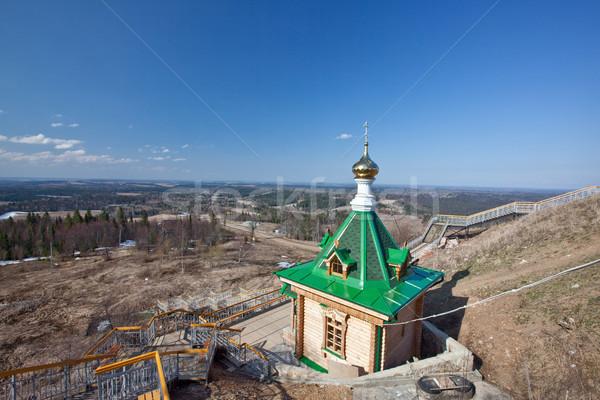 Fából készült kápolna Oroszország dauer fehér hegy Stock fotó © ISerg