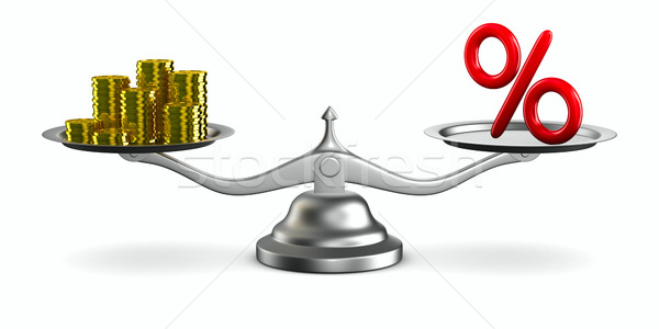 percent and money on scale. Isolated 3D image Stock photo © ISerg