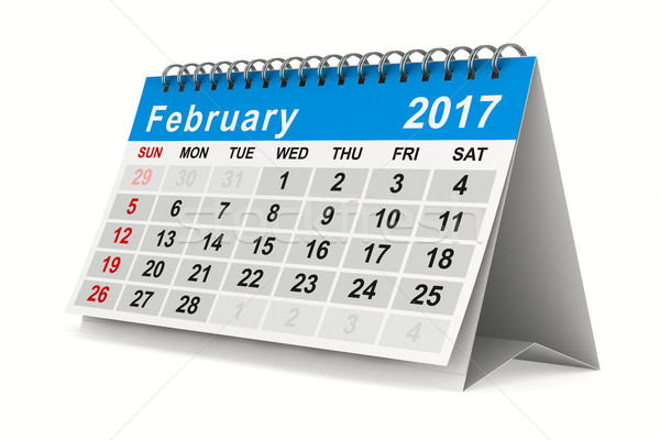 2017 year calendar. February. Isolated 3D image Stock photo © ISerg