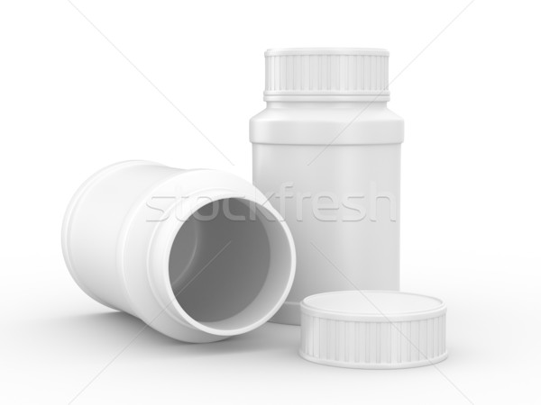 Stock photo: Bottle for tablets on white background. Isolated 3D image